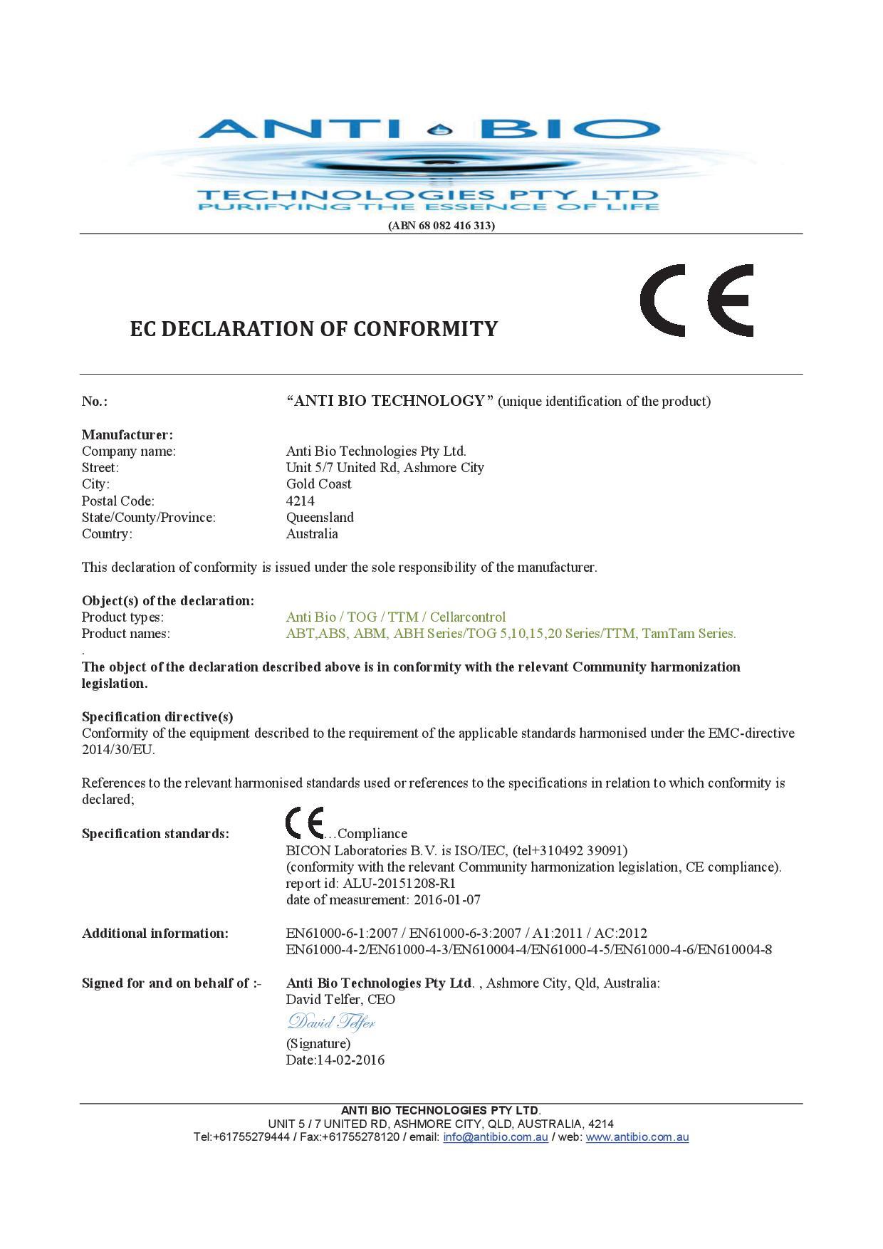 AB EC Declaration of Conformity